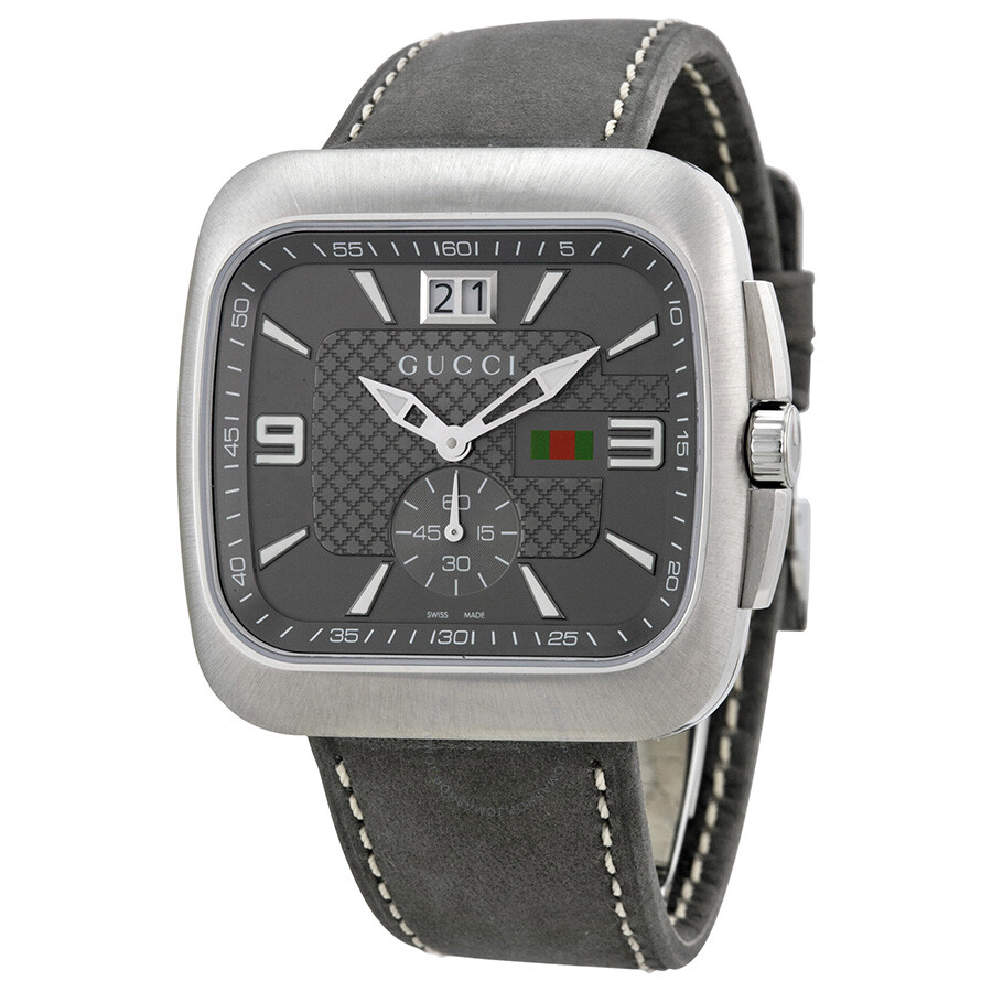 392f78fc Gucci Coupe Grey Dial Leather Strap Men's Watch YA131313