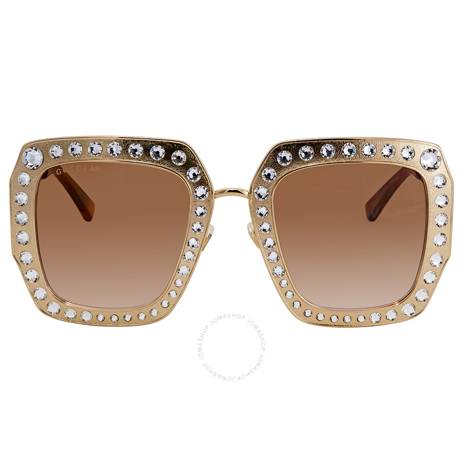 afcb45a4e38 ... Gucci Crystal-Studded Brown Multipler Gradient Square Ladies Sunglasses  GG0115S-002 52 ...