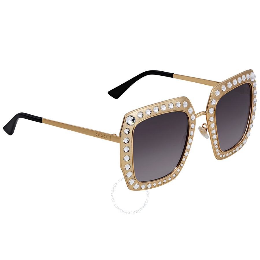 c88846db8 Gucci Crystal-Studded Grey Gradient Square Ladies Sunglasses GG0115S-001 52  ...