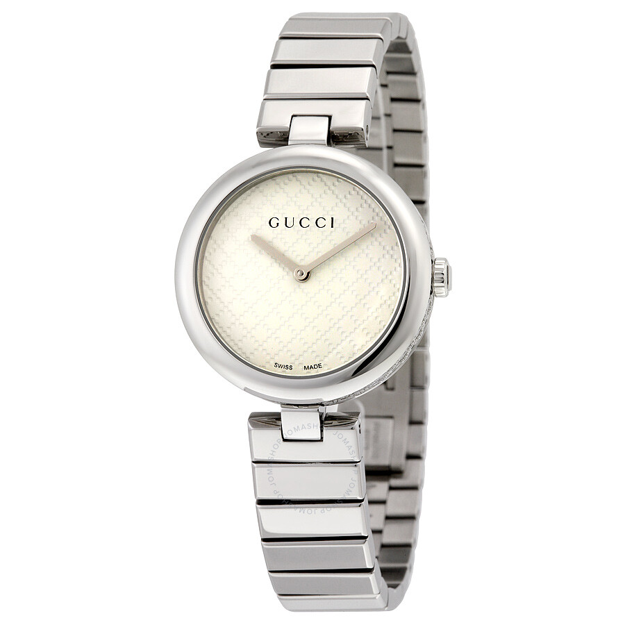 3ba17735246 Gucci Diamantissima White Dial Stainless Steel Medium Ladies Watch YA141402  ...