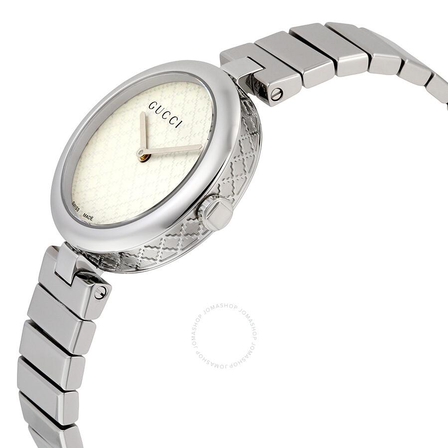 18a63d9a469 ... Gucci Diamantissima White Dial Stainless Steel Medium Ladies Watch  YA141402 ...