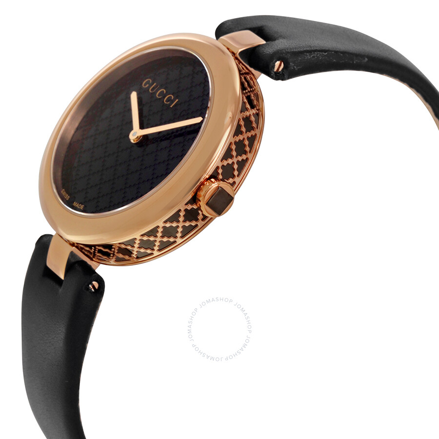 d7c471268691 ... Gucci Diamatissima Black Lacquered Dial Ladies Watch YA141401 ...