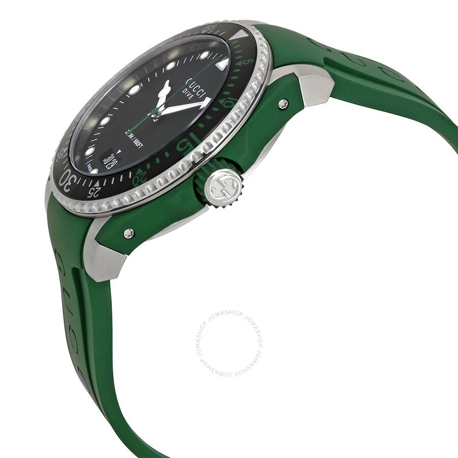 f2cbad5e4a7 Gucci Dive Black Dial Green Rubber Men s Watch YA136310 - Dive ...
