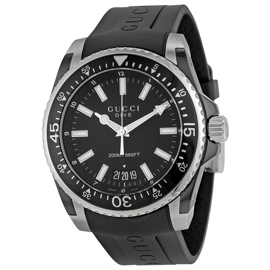 bde08015c Gucci Dive Black Dial Black Rubber Men's Watch YA136204 - Dive ...