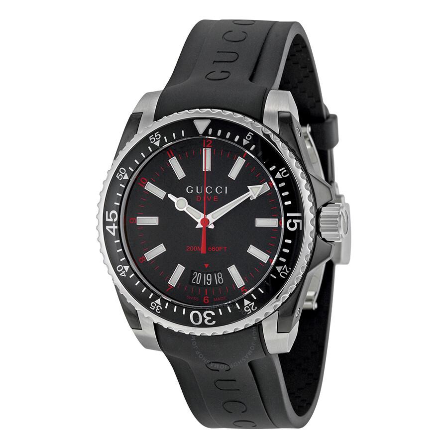 3a067886c60 Gucci Dive Black Dial Black Rubber Men s Watch YA136303 - Dive ...