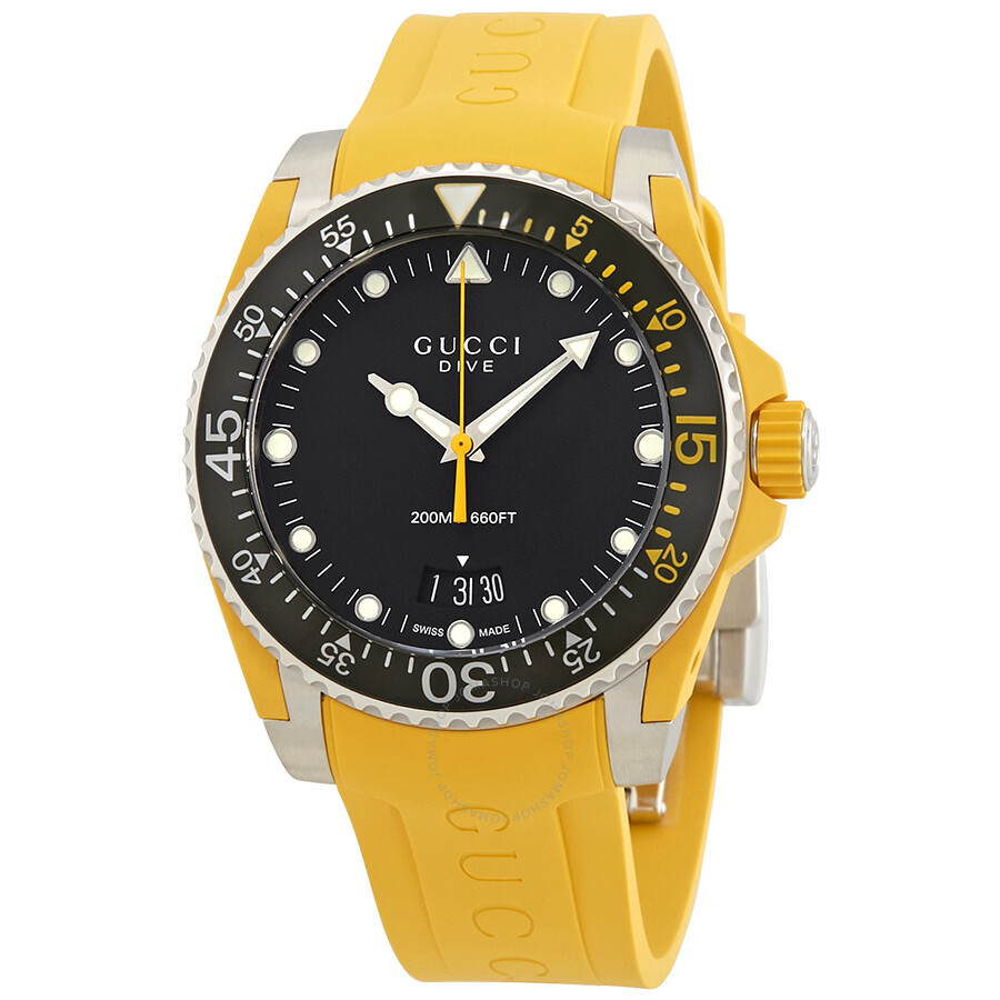 dfa86b86502 Gucci Dive Black Dial Men s Yellow Rubber Watch YA136319 - Dive ...