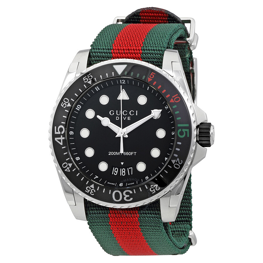 cac0cb31f94 Gucci Dive Black Dial Green and Red Nylon Men s Watch YA136209 ...