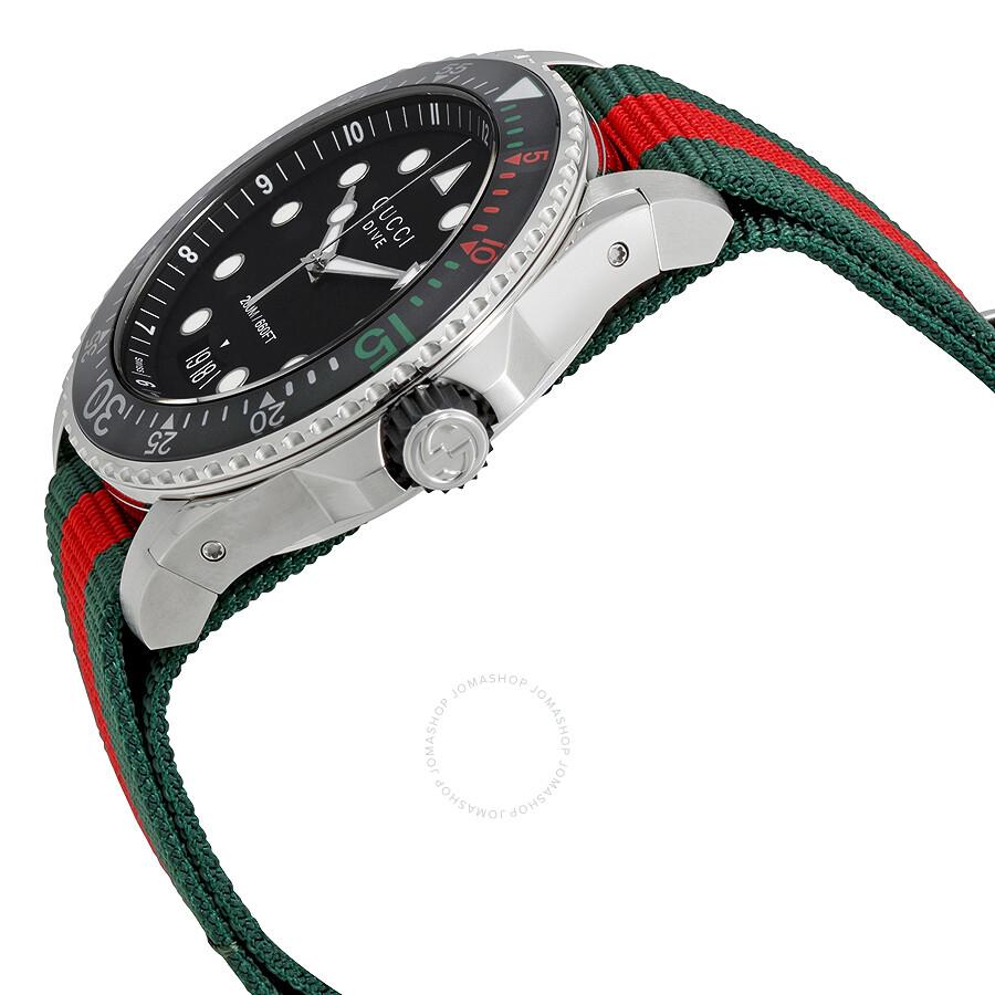 143faaf9cbb ... Gucci Dive Black Dial Green and Red Nylon Men s Watch YA136209 ...