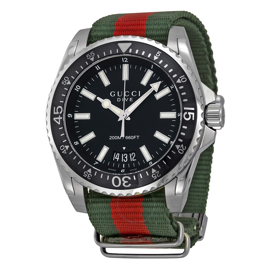 ff484f15eed Gucci Dive Black Dial Red and Green Nylon Men s Watch YA136206 ...