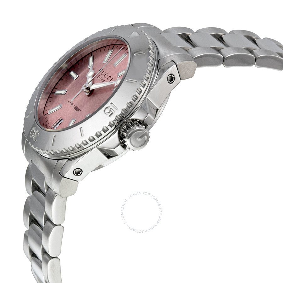 2a72793abc4 ... Gucci Dive Medium Pink Dial Stainless Steel Ladies Watch YA136401 ...