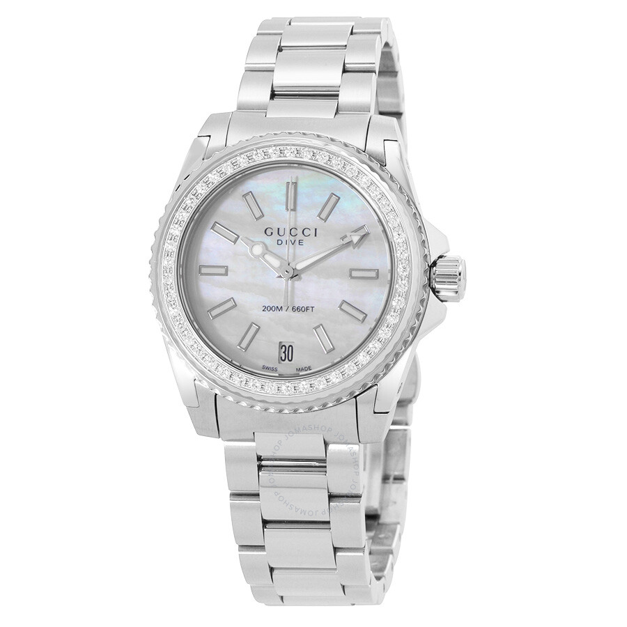 a27f28282f0 Gucci Dive Mother of Pearl Dial Stainless Steel Ladies Watch YA136406 ...