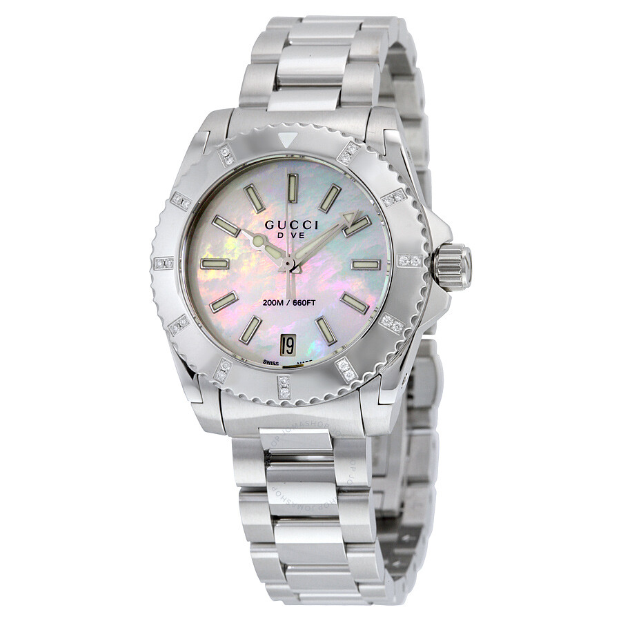 Gucci dive mother of pearl dial stainless steel ladies watch ya136405 dive gucci watches for Pearl watches