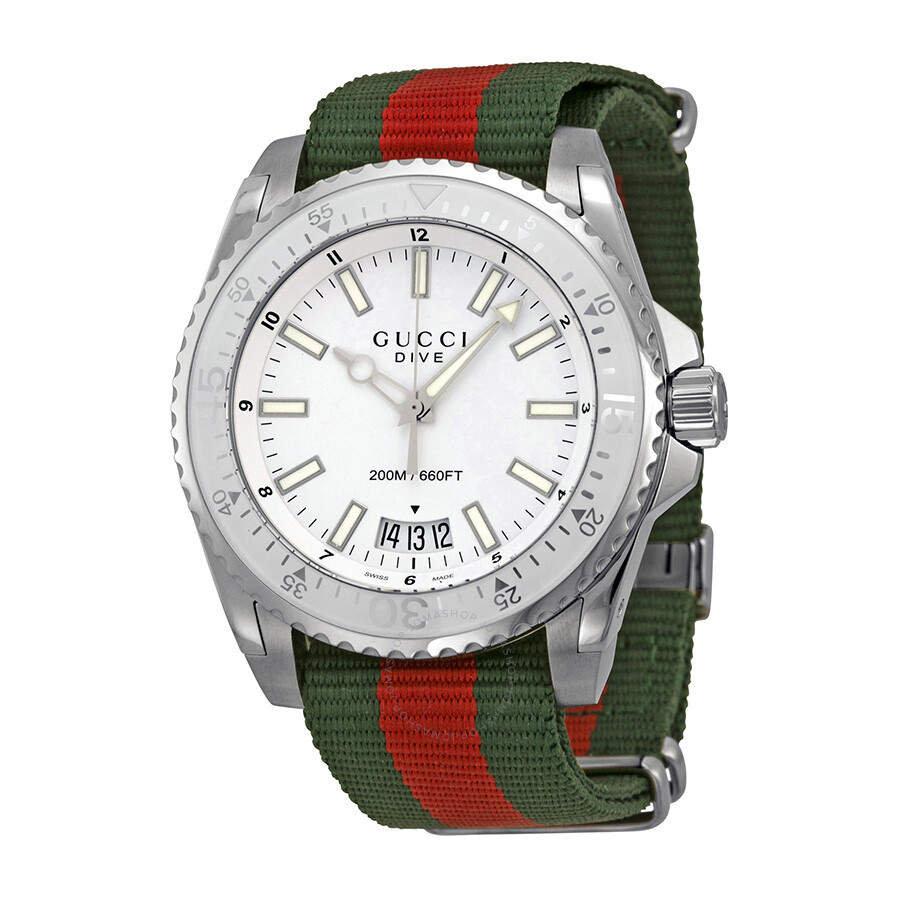 9205854f843 Gucci Dive Silver Dial Red and Green Nylon Men s Watch YA136207 ...