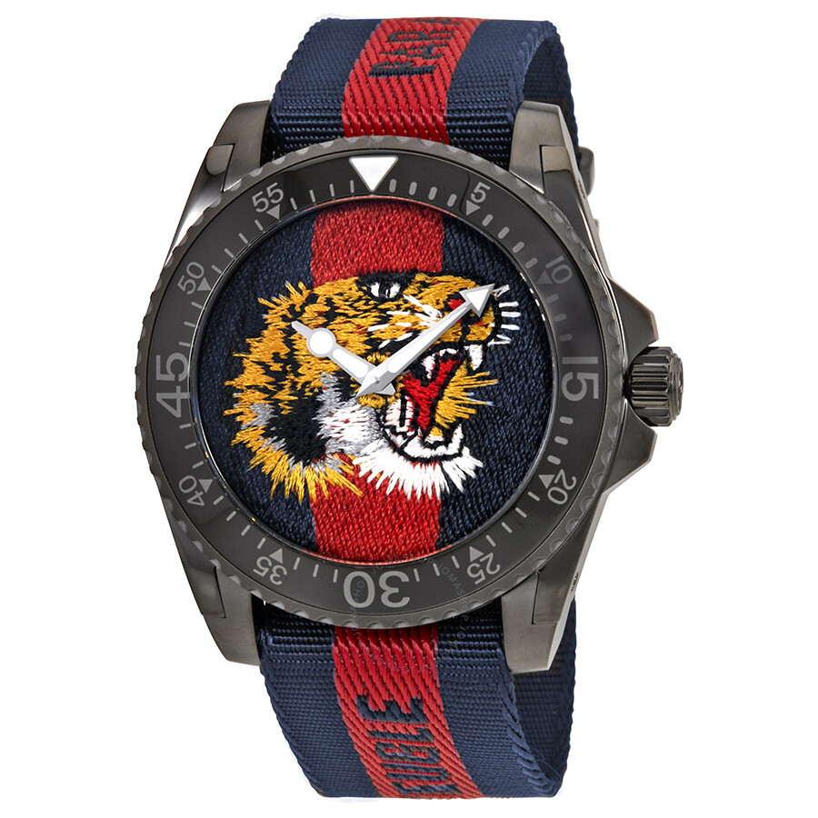 61414f0cc777cd Gucci Dive Tiger Embroidered Dial Men s Watch YA136215 - Dive ...