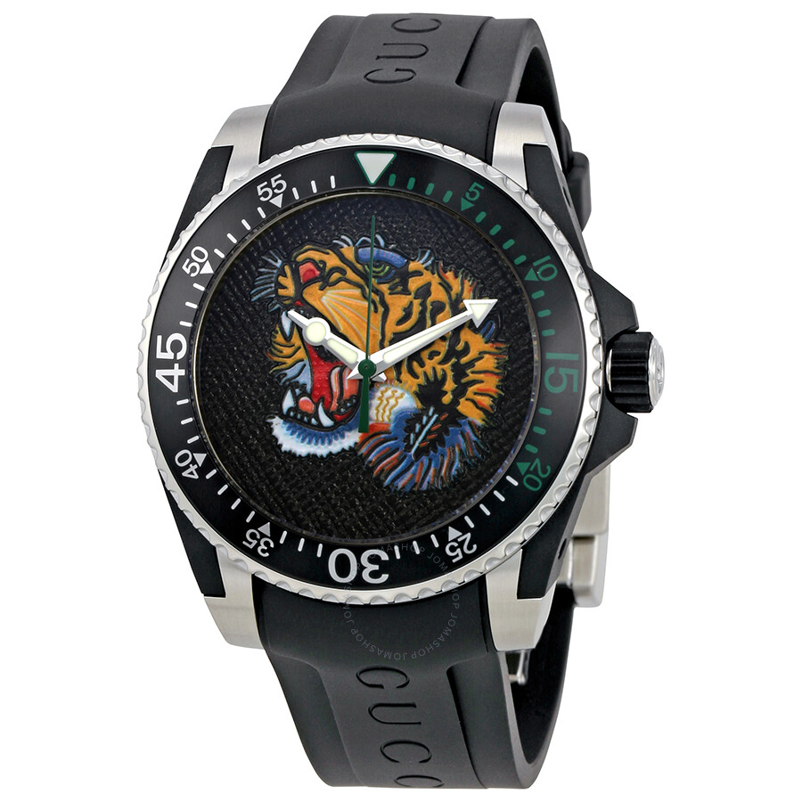 4d59ced2daf Gucci Dive Embroidered Tiger Motif Dial Men s Watch YA136318 - Dive ...