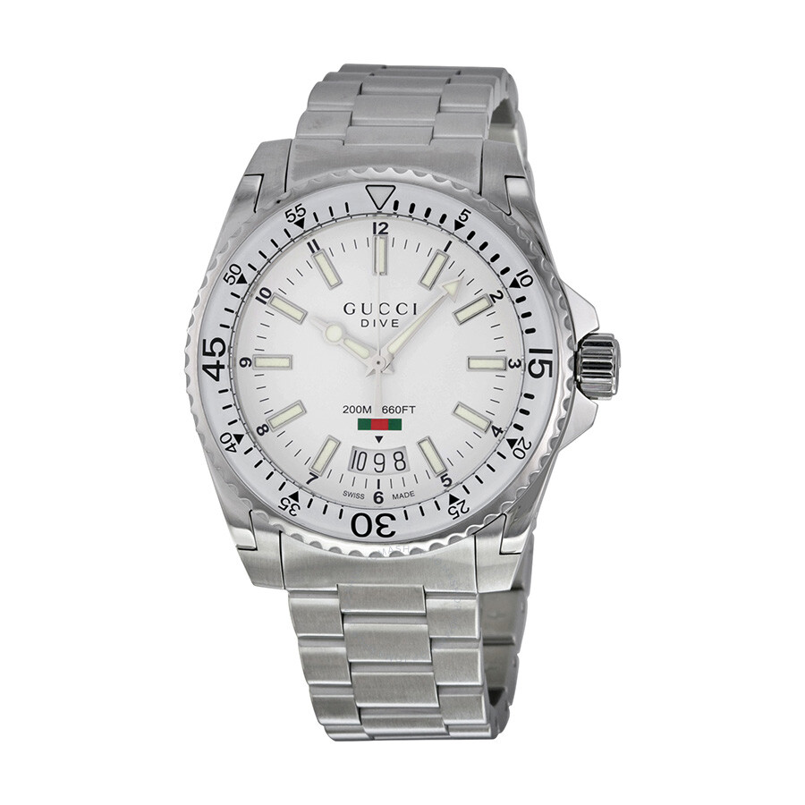 1c1911272b3 Gucci Dive White Dial Stainless Steel Men s Watch YA136302 - Special ...