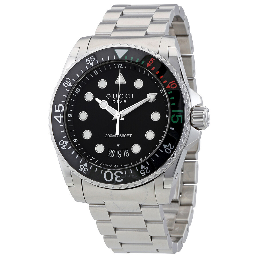 gucci dive xl black dial stainless steel men 39 s watch ya136208 dive gucci watches jomashop