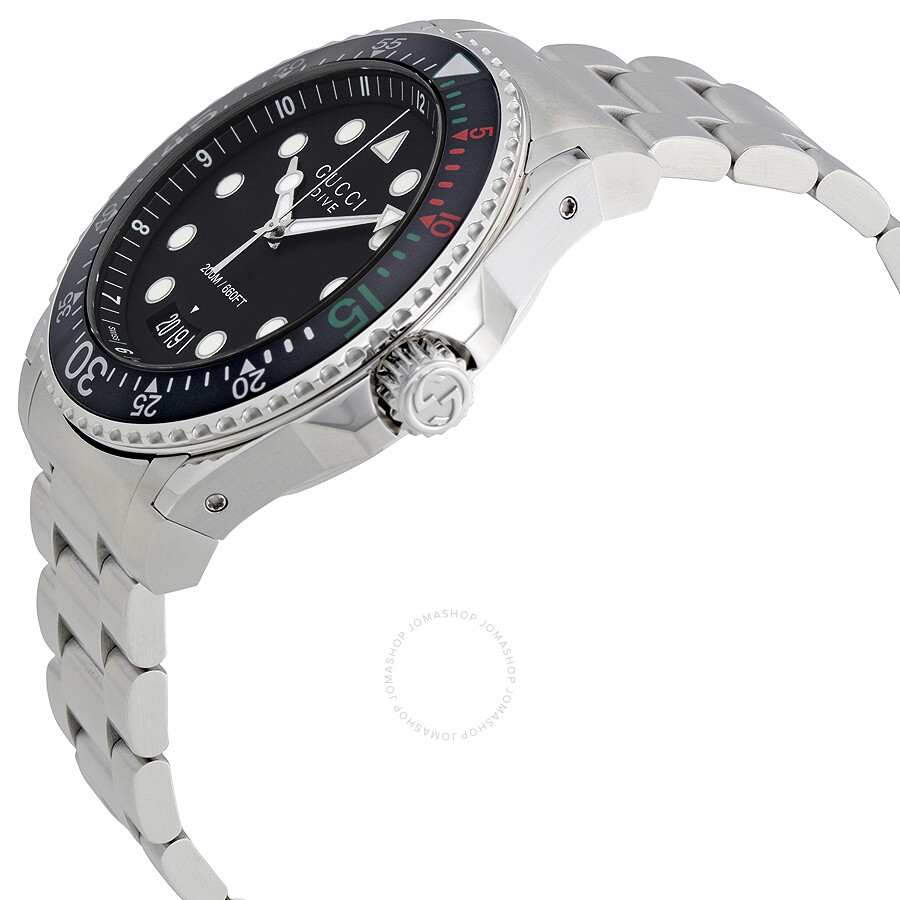 d1acd566add Gucci Dive XL Black Dial Stainless Steel Men s Watch YA136208 - Dive ...