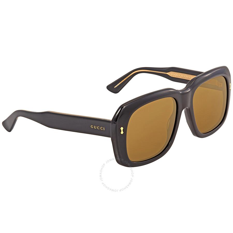 7c12f613191 Gucci Fashion Brown Square Ladies Sunglasses GG0049S-001 57 - Gucci ...