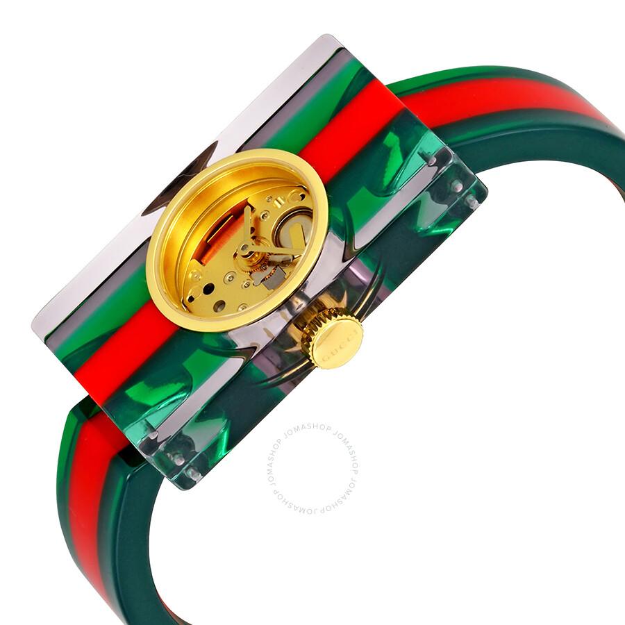 3883ba13cec ... Gucci Fashion Show Skeleton Dial Plexiglas Bangle Ladies Watch YA143501  ...