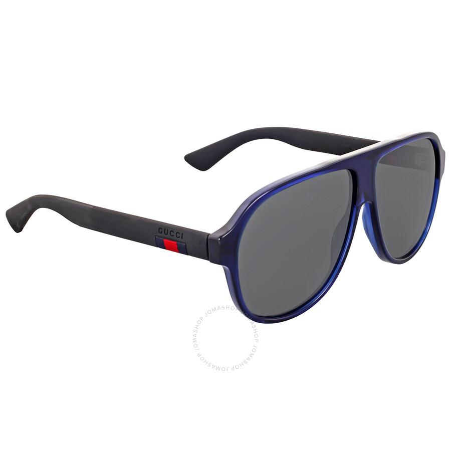 1ea45fb2a Gucci Flash Blue Aviator Sunglasses - Gucci - Sunglasses - Jomashop