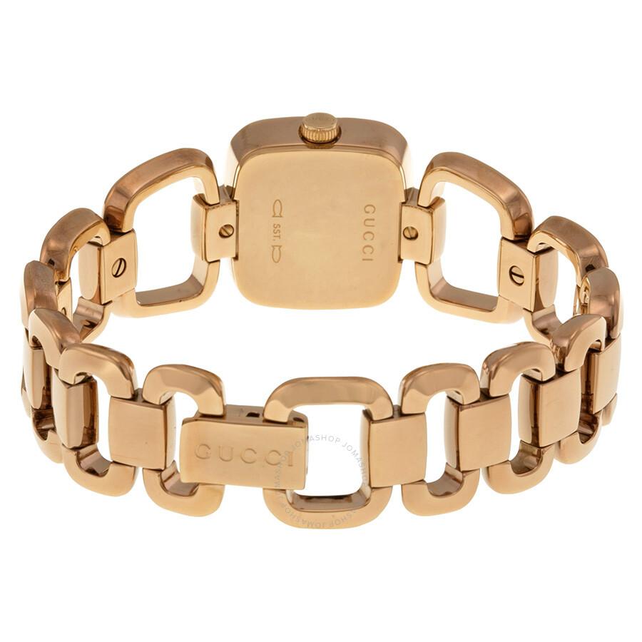 74cf7d2fb78 Gucci G Black Diamond Dial Rose Gold PVD Ladies Watch YA125512 - G ...