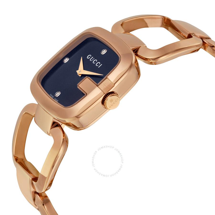 89864de9f ... Gucci G Black Diamond Dial Rose Gold-tone Ladies Watch YA125409 ...