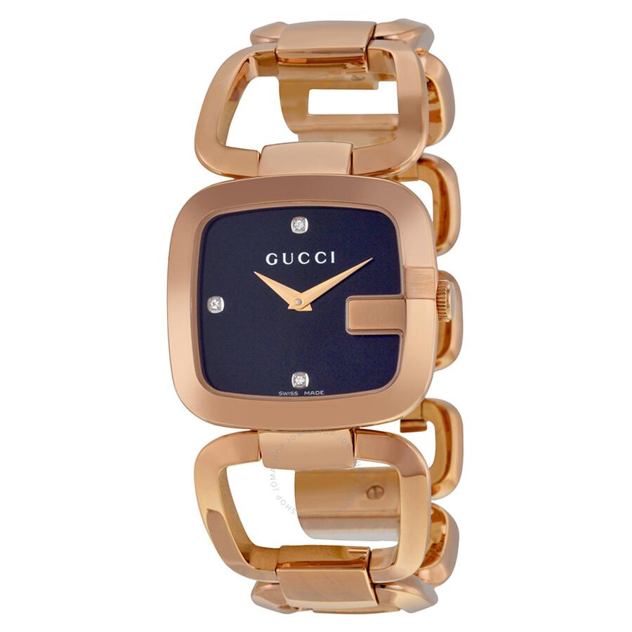 c59e22440 Gucci G Black Diamond Dial Rose Gold-tone Ladies Watch YA125409 - G ...
