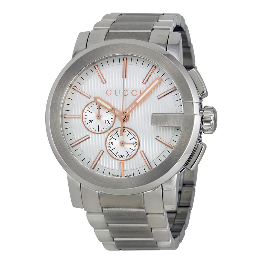 gucci g chrono chronograph silver s
