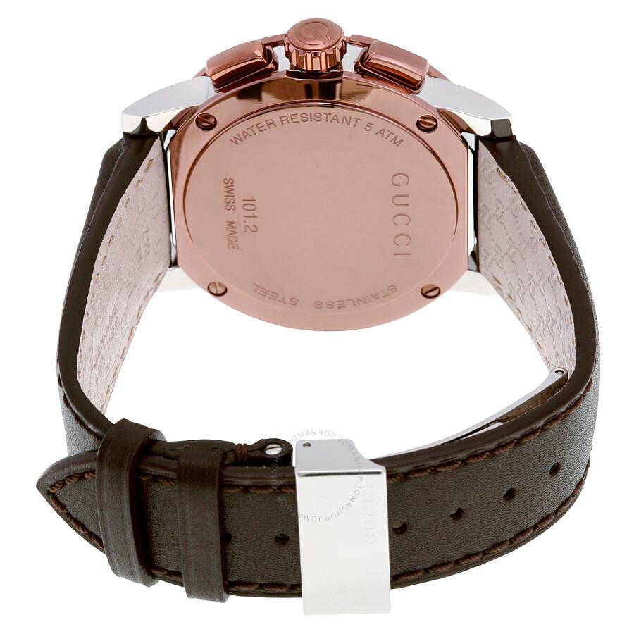 ce734e397e5 Gucci G Chrono XL Black Dial Brown Leather Men s Watch YA101202 - G ...