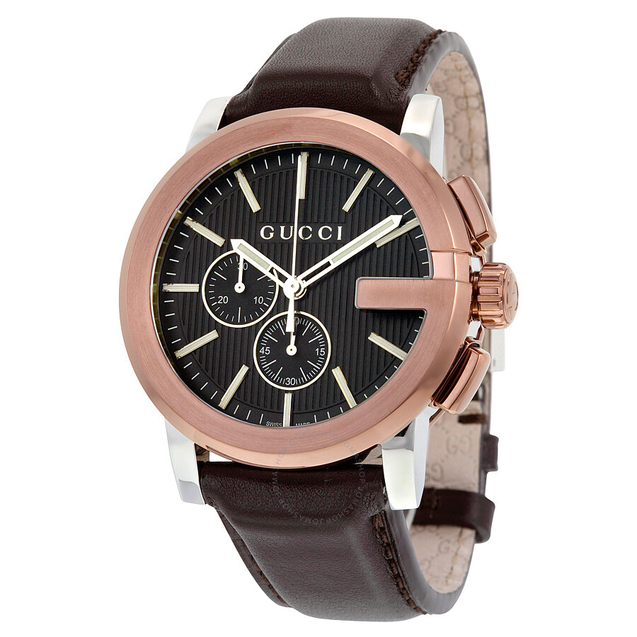 52973a4eb1b Gucci G Chrono XL Black Dial Brown Leather Men s Watch YA101202 - G ...