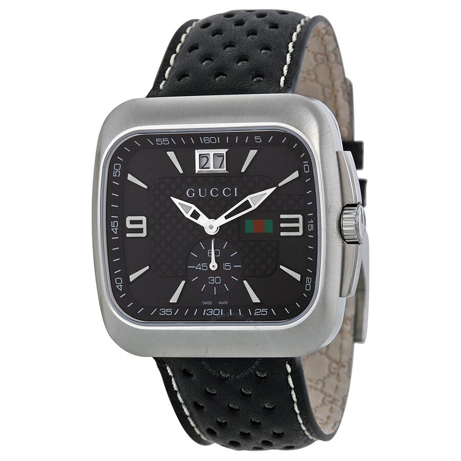411f82f3812 Gucci G Coupe Leather Bracelet Black Dial Men s Watch YA131302 - G ...