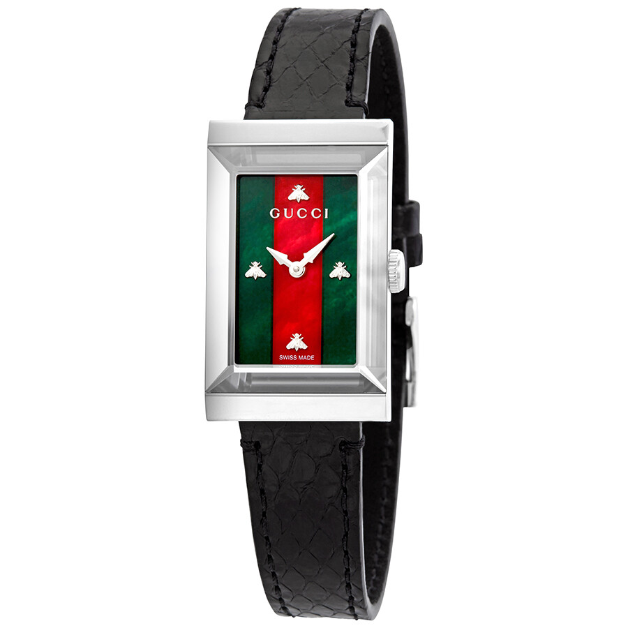 5b6702f40b9 Gucci G-Frame Green-Red Mother of Pearl Dial Ladies Leather Watch YA147403  ...