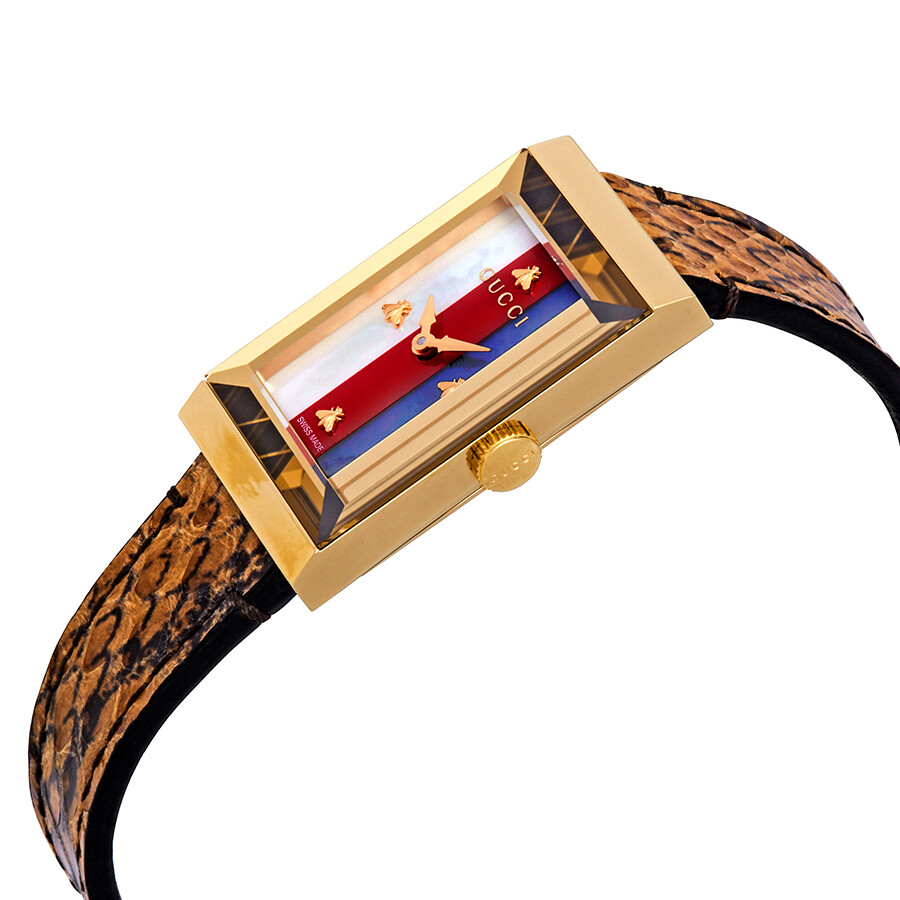 99b1cb5d433 Gucci G-Frame Mother of Pearl Dial Ladies Leather Watch YA147402 - G ...