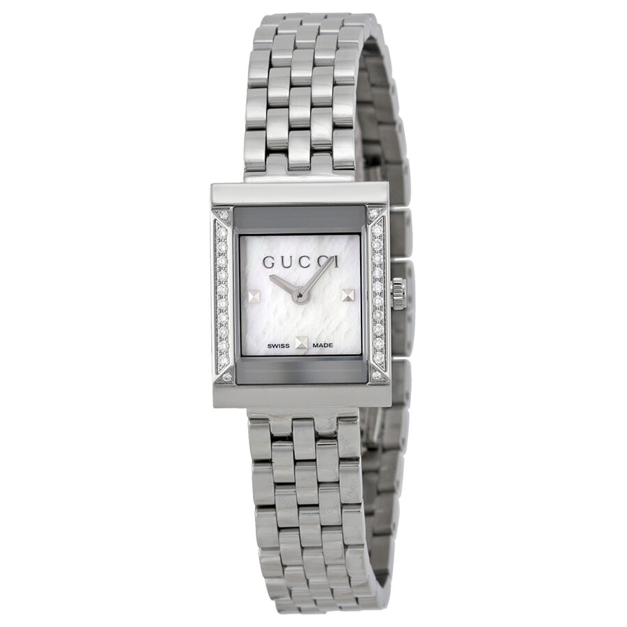 8b72ab9daab Gucci G Frame Mother of Pearl Diamond Stainless Steel Ladies Watch YA128405  ...