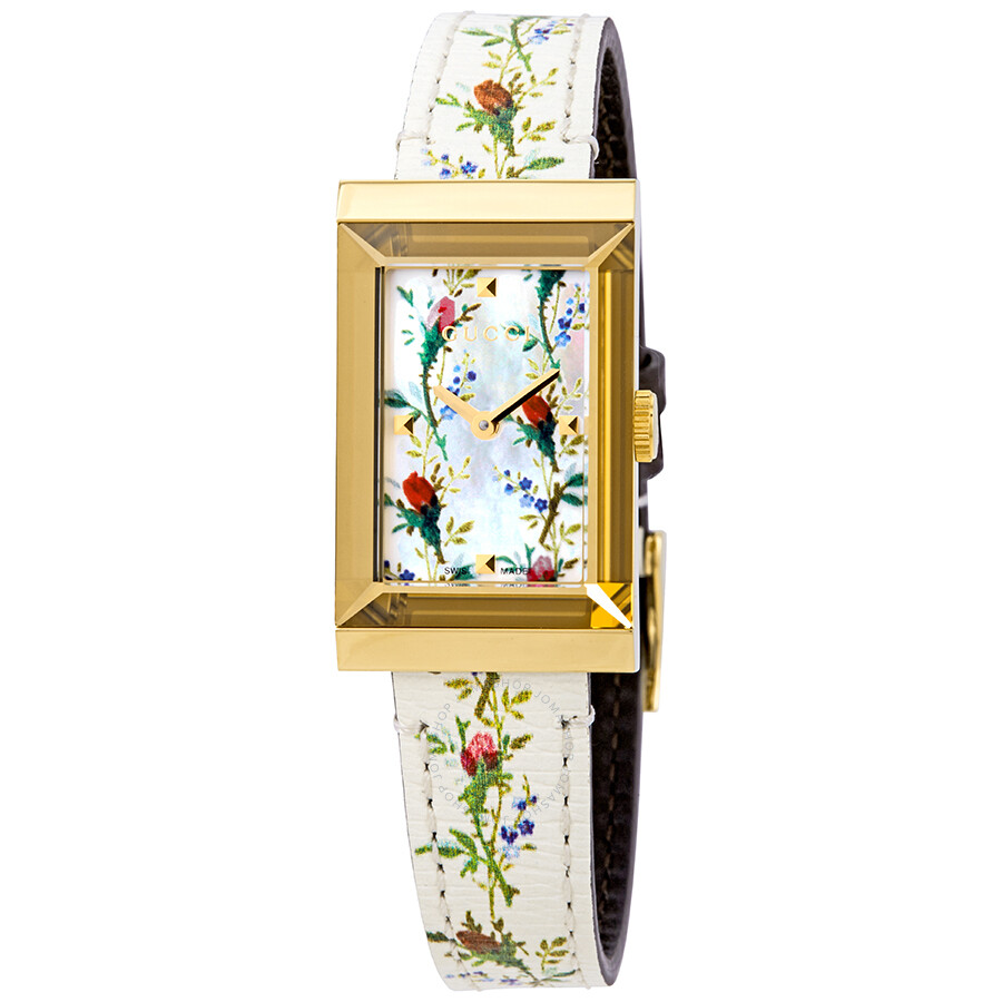 20fe69de4fb Gucci G-Frame Mother of Pearl Floral Dial Ladies Leather Watch YA147407 ...