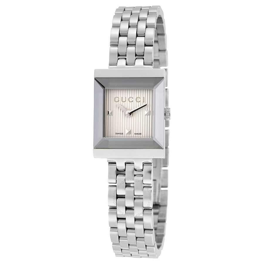 371db812961 Gucci G-Frame Silver Guilloche Dial Stainless Steel Ladies Watch YA128402  ...