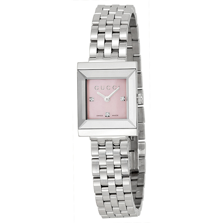 3f1d5a76c51 Gucci G Frame Timeless Mother of Pearl Dial Stainless Steel Ladies Watch  YA128401 ...