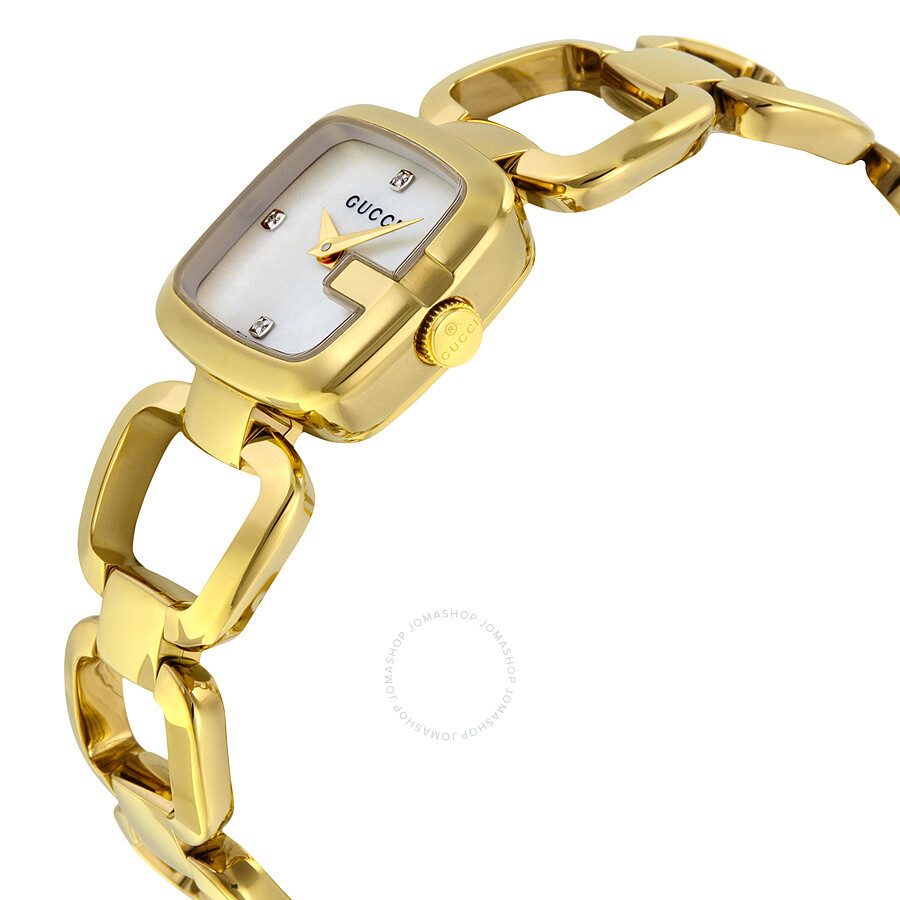 d236586c3d6 ... Gucci G-Gucci Mother of Pearl Diamond Dial Gold Tone Ladies Watch  YA125513 ...