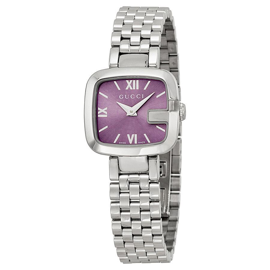 gucci g purple dial stainless steel small ladies watch. Black Bedroom Furniture Sets. Home Design Ideas