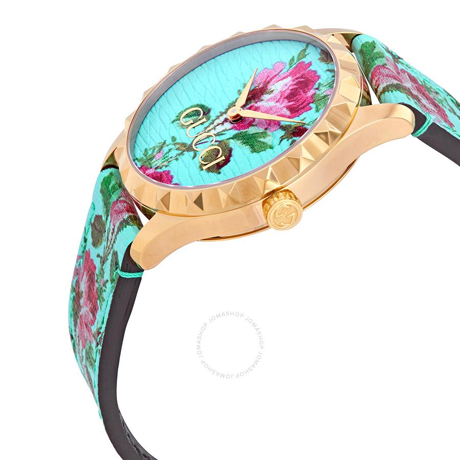 3ebcd2372ff ... Gucci G-Timeless Aqua Floral Print Dial Ladies Leather Watch YA1264085  ...