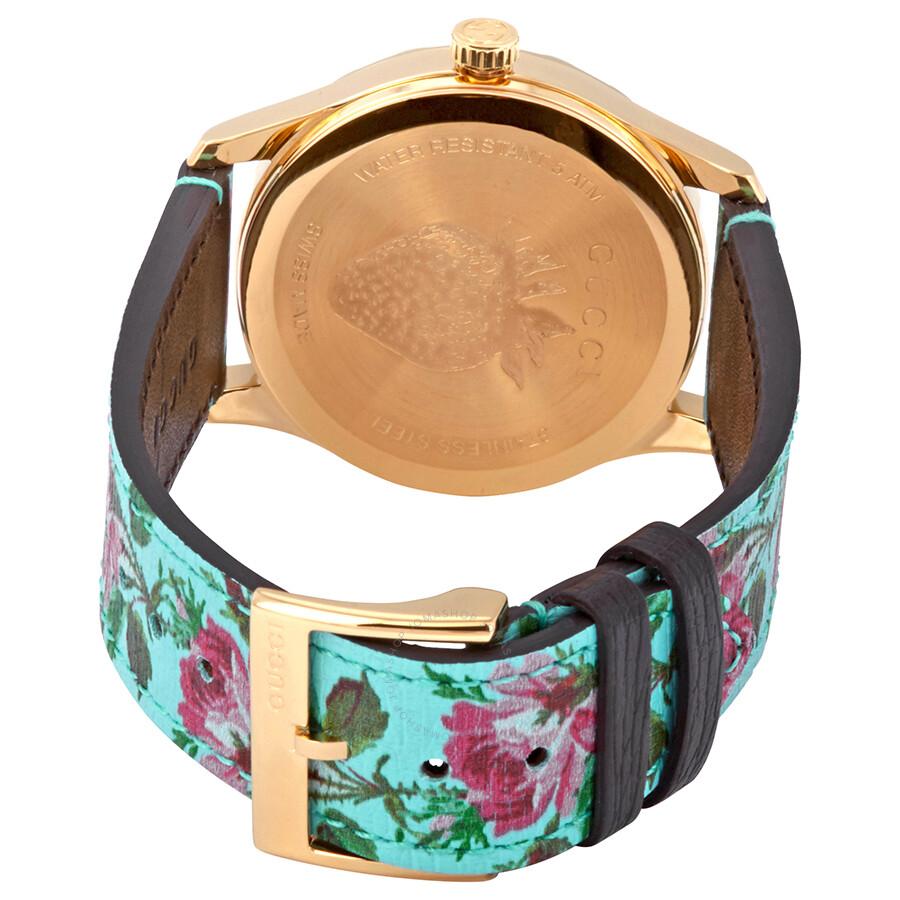 3b95ee70051 ... Gucci G-Timeless Aqua Floral Print Dial Ladies Leather Watch YA1264085