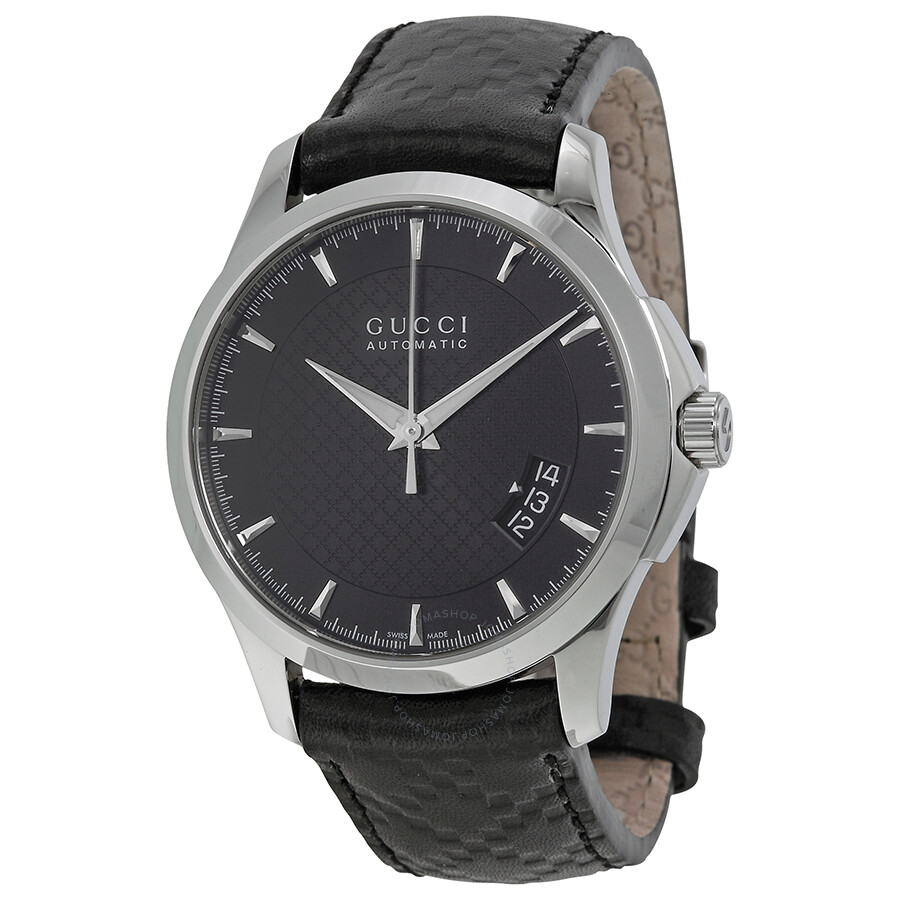 2a188400fdc Gucci G Timeless Automatic Black Dial Leather Strap Men s Watch YA126413 ...