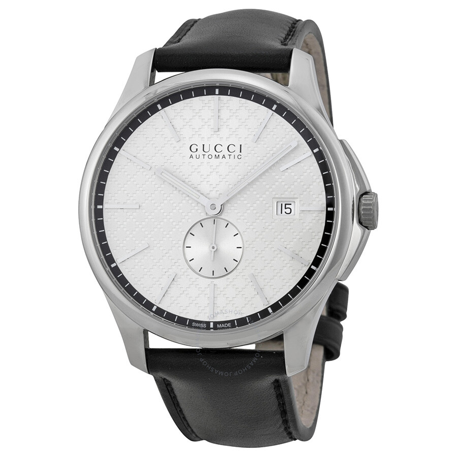 5309e5b8ccb Gucci G-Timeless Automatic Silver Dial Black Leather Strap Men s Watch  YA126313 ...