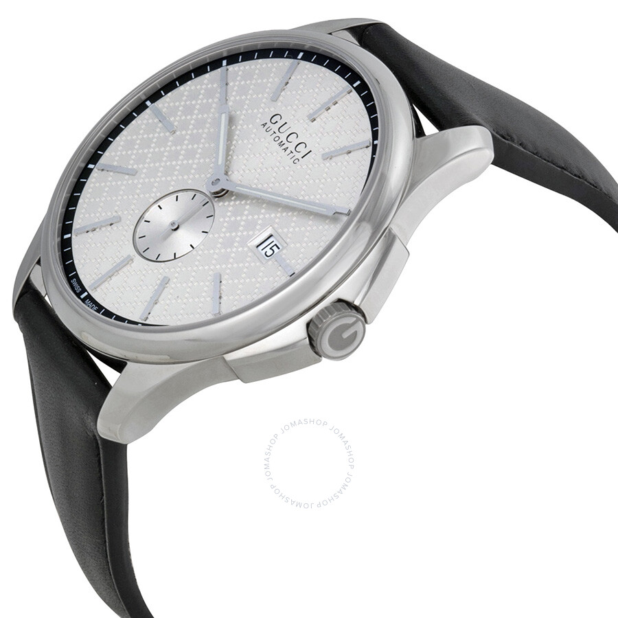 41207388d99 ... Gucci G-Timeless Automatic Silver Dial Black Leather Strap Men s Watch  YA126313 ...