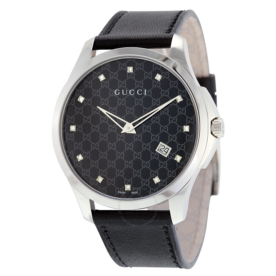 1959b971218 Gucci G-Timeless Black Dial Black Leather Ladies Watch YA126305 - G ...