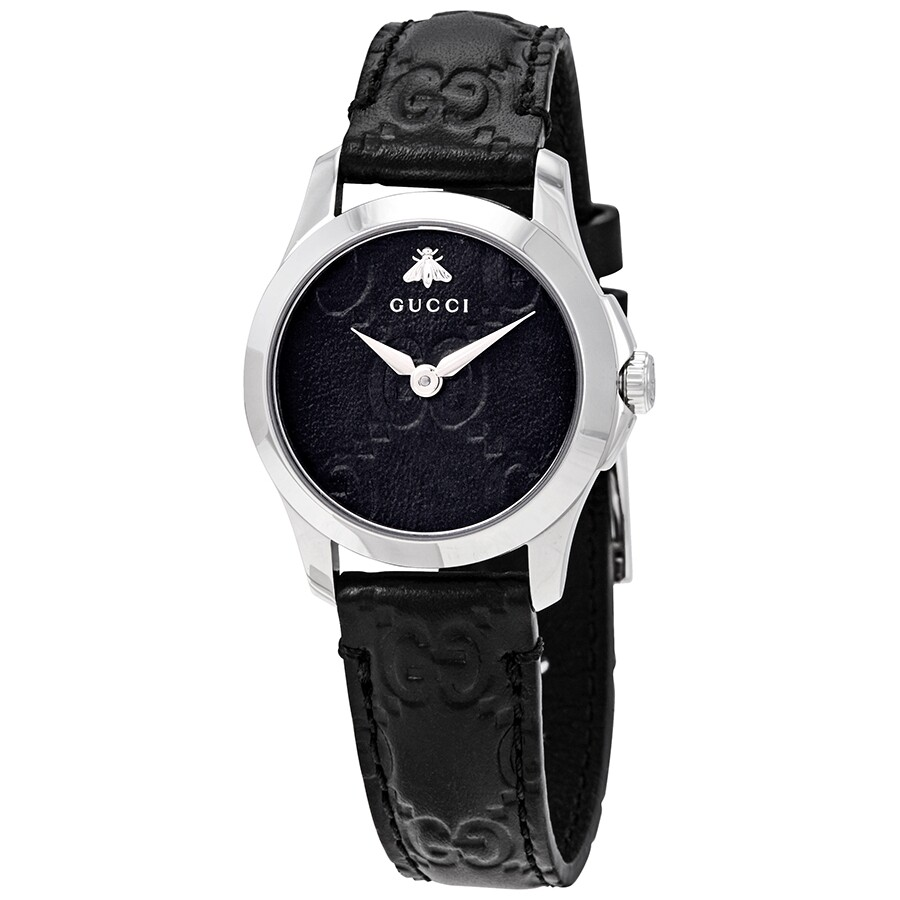 a9cae2264c3 Gucci G-Timeless Black Dial Ladies Leather Watch YA126579 - G ...