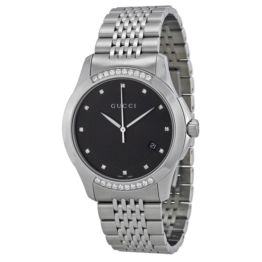 Gucci G Timeless Black Dial Diamond Unisex Watch YA126408