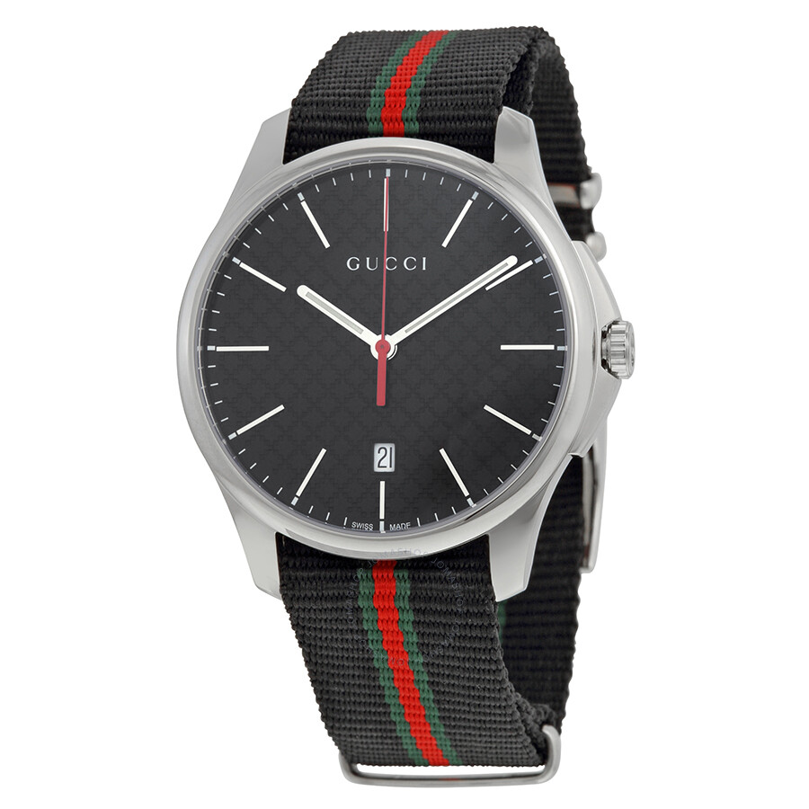 gucci g timeless black fabric black striped s