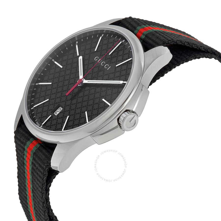 3d2367aef42 ... Gucci G-Timeless Black Dial Fabric Black Striped Men s Watch YA126321  ...